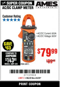 Harbor Freight Coupon 600A T-RMS AC/DC CLAMP METER Lot No. 64015 Expired: 6/30/20 - $79.99