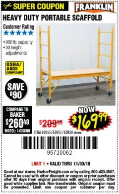Harbor Freight Coupon HEAVY DUTY PORTABLE SCAFFOLD Lot No. 63050/63051/69055/98979 Expired: 11/30/19 - $169.99