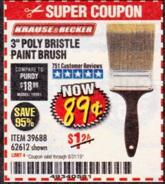 "Harbor Freight Coupon 3"" POLY BRISTLE PAINT BRUSH Lot No. 39688/62612 Expired: 8/31/19 - $0.89"