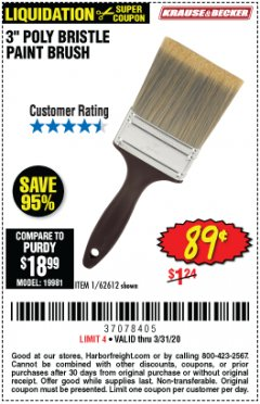 "Harbor Freight Coupon 3"" POLY BRISTLE PAINT BRUSH Lot No. 39688/62612 Expired: 3/31/20 - $0.89"