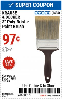 "Harbor Freight Coupon 3"" POLY BRISTLE PAINT BRUSH Lot No. 39688/62612 Valid: 7/1/20 - 7/15/20 - $0.97"