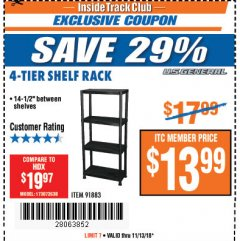 Harbor Freight ITC Coupon 4-TIER SHELF RACK Lot No. 91883 Expired: 11/13/18 - $13.99