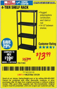 Harbor Freight Coupon 4-TIER SHELF RACK Lot No. 91883 Expired: 1/31/20 - $13.99