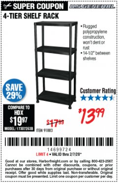Harbor Freight Coupon 4-TIER SHELF RACK Lot No. 91883 Expired: 2/7/20 - $13.99