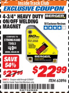 "Harbor Freight ITC Coupon 4 3/4"" HEAVY DUTY ON/OFF WELDING MAGNET Lot No. 63896 Expired: 2/29/20 - $22.99"