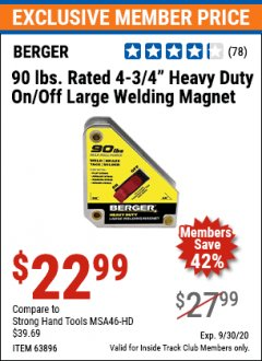 "Harbor Freight ITC Coupon 4 3/4"" HEAVY DUTY ON/OFF WELDING MAGNET Lot No. 63896 Expired: 9/30/20 - $22.99"