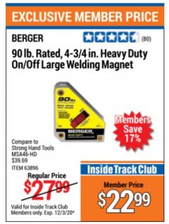 "Harbor Freight ITC Coupon 4 3/4"" HEAVY DUTY ON/OFF WELDING MAGNET Lot No. 63896 Valid Thru: 12/3/20 - $22.99"
