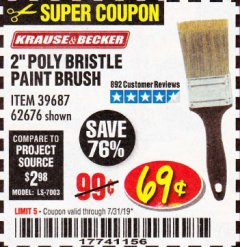 Harbor Freight Coupon 2 IN. PROFESSIONAL PAINT BRUSH Lot No. 39687, 62676 Expired: 7/31/19 - $0.69