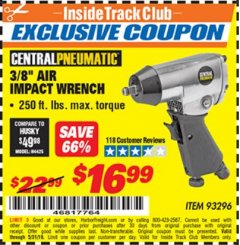 "Harbor Freight ITC Coupon 3/8"" AIR IMPACT WRENCH Lot No. 93296 Expired: 5/31/19 - $16.99"