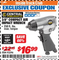 "Harbor Freight ITC Coupon 3/8"" AIR IMPACT WRENCH Lot No. 93296 Expired: 6/30/20 - $16.99"