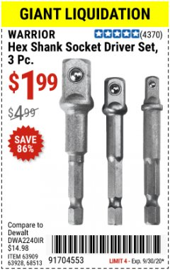 Harbor Freight Coupon WARRIOR 3 PIECE HEX DRILL SOCKET DRIVER SET  Lot No. 63909/63928/42191/68513 Expired: 9/30/20 - $1.99