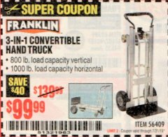 Harbor Freight Coupon FRANKLIN 3-IN-1 CONVERTIBLE HAND TRUCK Lot No. 56409 Expired: 7/31/19 - $99.99