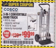 Harbor Freight Coupon FRANKLIN 3-IN-1 CONVERTIBLE HAND TRUCK Lot No. 56409 Expired: 8/31/19 - $99.99