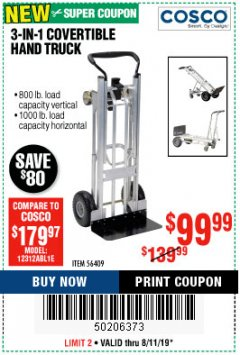 Harbor Freight Coupon FRANKLIN 3-IN-1 CONVERTIBLE HAND TRUCK Lot No. 56409 Expired: 8/11/19 - $99.99