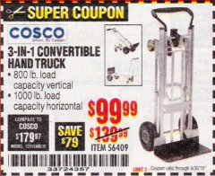 Harbor Freight Coupon FRANKLIN 3-IN-1 CONVERTIBLE HAND TRUCK Lot No. 56409 Expired: 9/30/19 - $99.99
