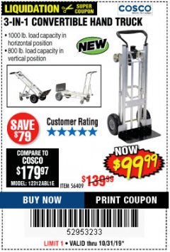 Harbor Freight Coupon FRANKLIN 3-IN-1 CONVERTIBLE HAND TRUCK Lot No. 56409 Expired: 10/31/19 - $99.99