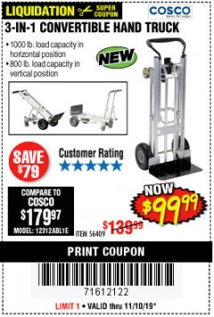 Harbor Freight Coupon FRANKLIN 3-IN-1 CONVERTIBLE HAND TRUCK Lot No. 56409 Expired: 11/10/19 - $99.99