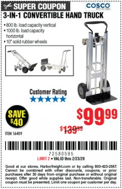 Harbor Freight Coupon FRANKLIN 3-IN-1 CONVERTIBLE HAND TRUCK Lot No. 56409 Valid Thru: 2/23/20 - $99.99