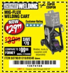 Harbor Freight Coupon MIG-FLUX WELDING CART Lot No. 69340/60790/90305/61316 Expired: 8/6/18 - $29.99