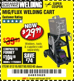 Harbor Freight Coupon MIG-FLUX WELDING CART Lot No. 69340/60790/90305/61316 Expired: 3/2/19 - $29.99