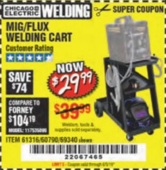 Harbor Freight Coupon MIG-FLUX WELDING CART Lot No. 69340/60790/90305/61316 Expired: 6/5/19 - $29.99