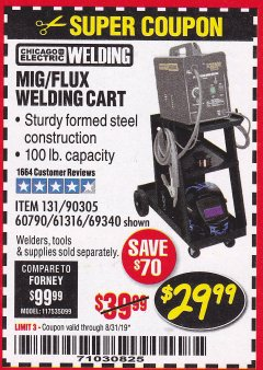 Harbor Freight Coupon MIG-FLUX WELDING CART Lot No. 69340/60790/90305/61316 Expired: 8/31/19 - $29.99