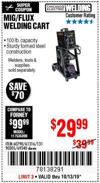 Harbor Freight Coupon MIG-FLUX WELDING CART Lot No. 69340/60790/90305/61316 Expired: 10/13/19 - $29.99
