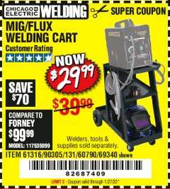 Harbor Freight Coupon MIG-FLUX WELDING CART Lot No. 69340/60790/90305/61316 Expired: 1/27/20 - $29.99
