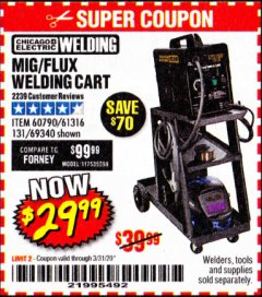Harbor Freight Coupon MIG-FLUX WELDING CART Lot No. 69340/60790/90305/61316 Expired: 3/31/20 - $29.99