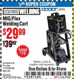Harbor Freight Coupon MIG-FLUX WELDING CART Lot No. 69340/60790/90305/61316 Expired: 9/6/20 - $29.99