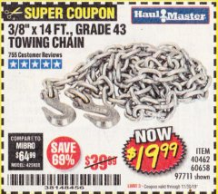 "Harbor Freight Coupon 3/8"" X 14 FT. TOWING CHAIN Lot No. 40462/60658/97711 Expired: 11/30/19 - $19.99"