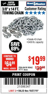 "Harbor Freight Coupon 3/8"" X 14 FT. TOWING CHAIN Lot No. 40462/60658/97711 Expired: 10/27/19 - $19.99"