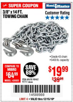 "Harbor Freight Coupon 3/8"" X 14 FT. TOWING CHAIN Lot No. 40462/60658/97711 Expired: 12/15/19 - $19.99"