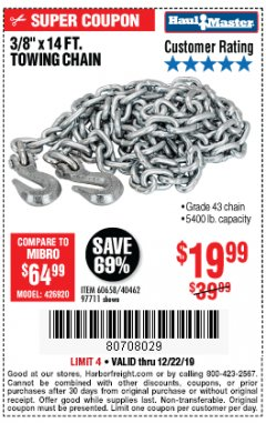 "Harbor Freight Coupon 3/8"" X 14 FT. TOWING CHAIN Lot No. 40462/60658/97711 Expired: 12/22/19 - $19.99"