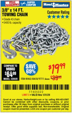 "Harbor Freight Coupon 3/8"" X 14 FT. TOWING CHAIN Lot No. 40462/60658/97711 Expired: 1/31/20 - $19.99"