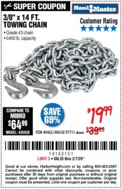"Harbor Freight Coupon 3/8"" X 14 FT. TOWING CHAIN Lot No. 40462/60658/97711 Expired: 2/7/20 - $19.99"