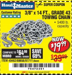 "Harbor Freight Coupon 3/8"" X 14 FT. TOWING CHAIN Lot No. 40462/60658/97711 Expired: 6/30/20 - $19.99"