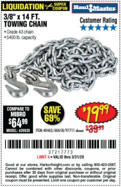 "Harbor Freight Coupon 3/8"" X 14 FT. TOWING CHAIN Lot No. 40462/60658/97711 Expired: 3/31/20 - $19.99"