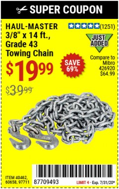 "Harbor Freight Coupon 3/8"" X 14 FT. TOWING CHAIN Lot No. 40462/60658/97711 Expired: 7/31/20 - $19.99"