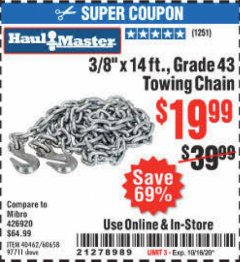 "Harbor Freight Coupon 3/8"" X 14 FT. TOWING CHAIN Lot No. 40462/60658/97711 Expired: 10/16/20 - $19.99"