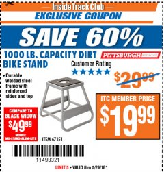 Harbor Freight ITC Coupon 1000 LB. CAPACITY DIRT BIKE STAND Lot No. 67151 Expired: 5/29/18 - $19.99