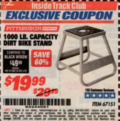 Harbor Freight ITC Coupon 1000 LB. CAPACITY DIRT BIKE STAND Lot No. 67151 Expired: 7/31/19 - $19.99