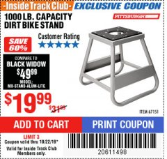 Harbor Freight ITC Coupon 1000 LB. CAPACITY DIRT BIKE STAND Lot No. 67151 Expired: 10/22/19 - $19.99