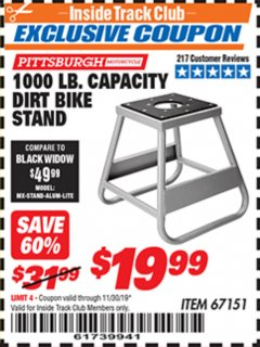Harbor Freight ITC Coupon 1000 LB. CAPACITY DIRT BIKE STAND Lot No. 67151 Expired: 11/30/19 - $19.99