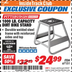 Harbor Freight ITC Coupon 1000 LB. CAPACITY DIRT BIKE STAND Lot No. 67151 Expired: 2/29/20 - $24.99