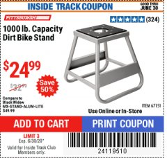 Harbor Freight ITC Coupon 1000 LB. CAPACITY DIRT BIKE STAND Lot No. 67151 Expired: 6/30/20 - $24.99