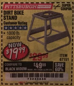 Harbor Freight Coupon 1000 LB. CAPACITY DIRT BIKE STAND Lot No. 67151 Expired: 2/5/19 - $19.99