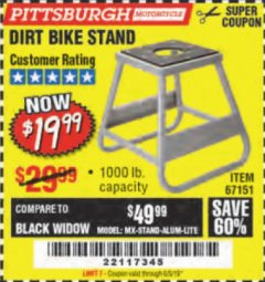 Harbor Freight Coupon 1000 LB. CAPACITY DIRT BIKE STAND Lot No. 67151 Expired: 6/5/19 - $19.99
