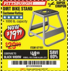 Harbor Freight Coupon 1000 LB. CAPACITY DIRT BIKE STAND Lot No. 67151 Expired: 9/21/19 - $19.99