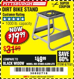Harbor Freight Coupon 1000 LB. CAPACITY DIRT BIKE STAND Lot No. 67151 Expired: 12/14/19 - $19.99